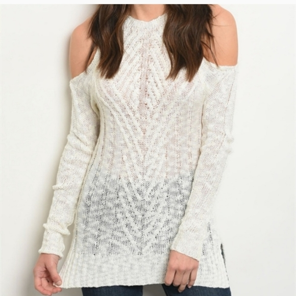 Ivory Knitted Cold Shouler Top
